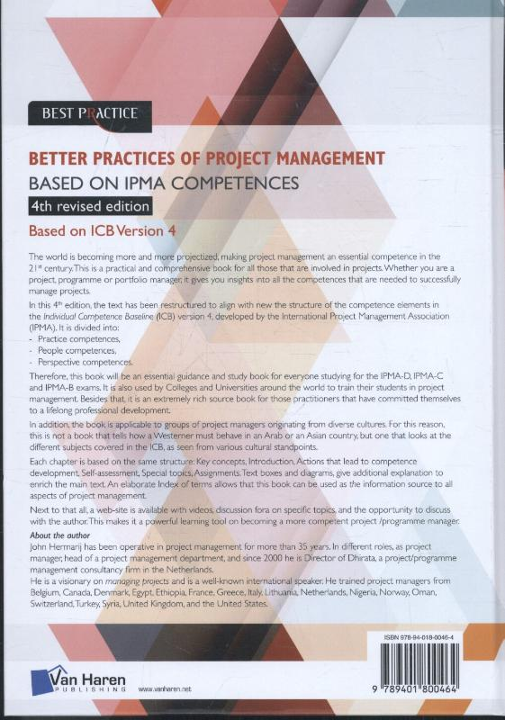 The better practices of project management Based on IPMA competences – 4th revised edition image