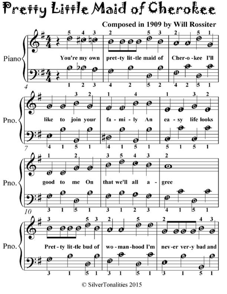 Pretty Little Maid of Cherokee - Easiest Piano Sheet Music for Beginner Pianists