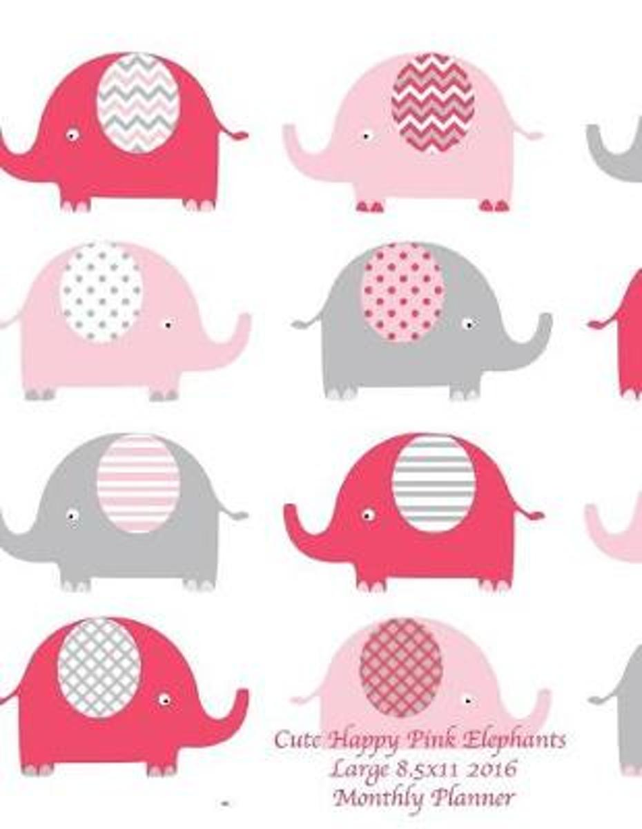Cute Happy Pink Elephants Large 8.5x11 2016 Monthly Planner