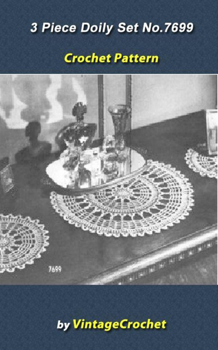 3 Piece Doily Set Vintage Crochet Pattern eBook