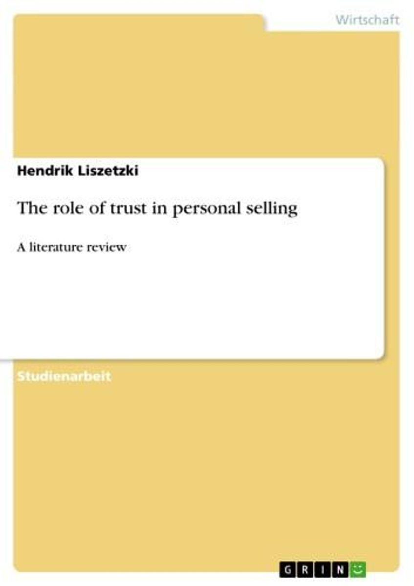 The role of trust in personal selling