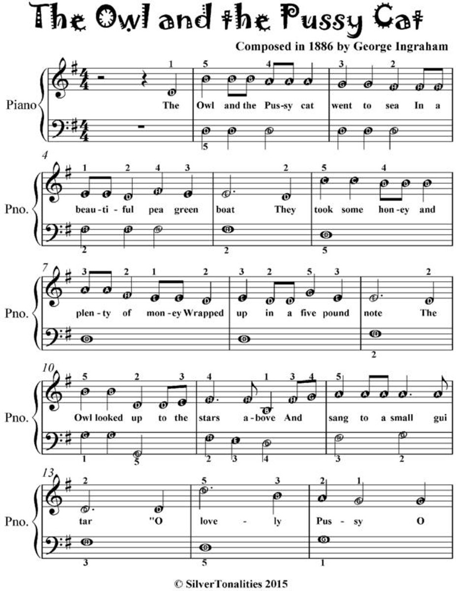 Owl and the Pussy Cat - Easiest Piano Sheet Music for Beginner Pianists