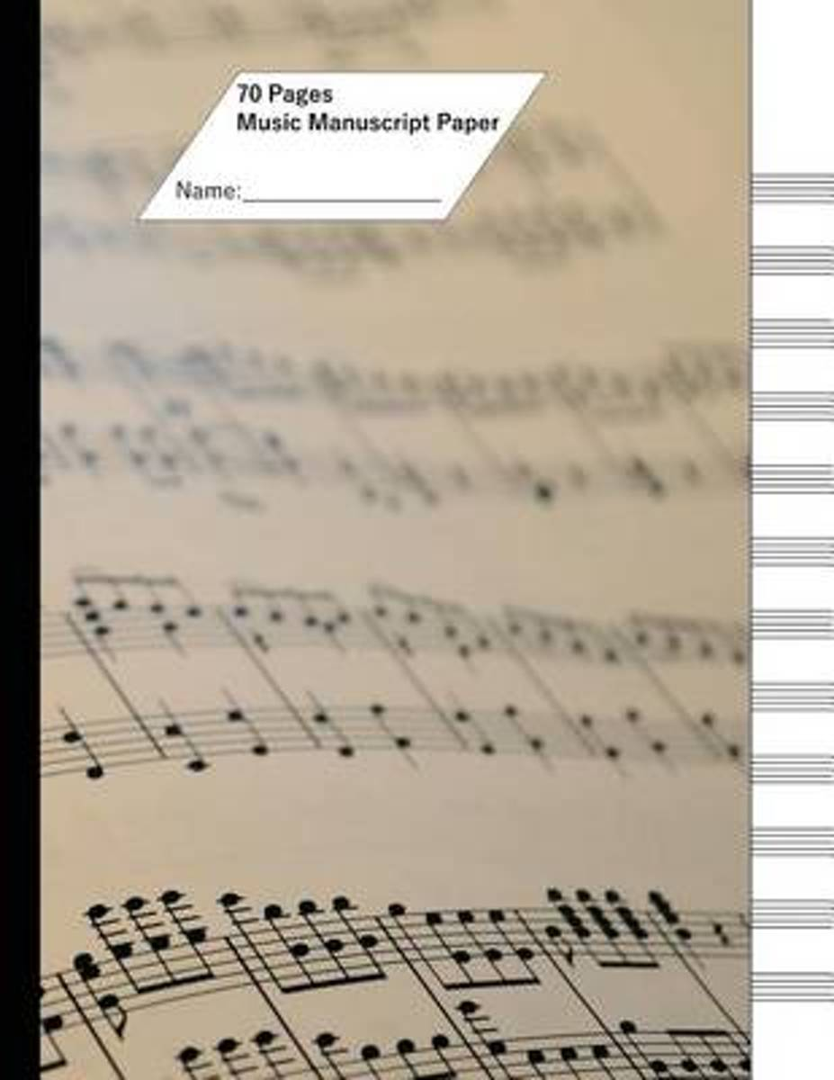 Music Manuscript Paper (Staff Paper) 70 Pages, 12 Staves. Note Cover