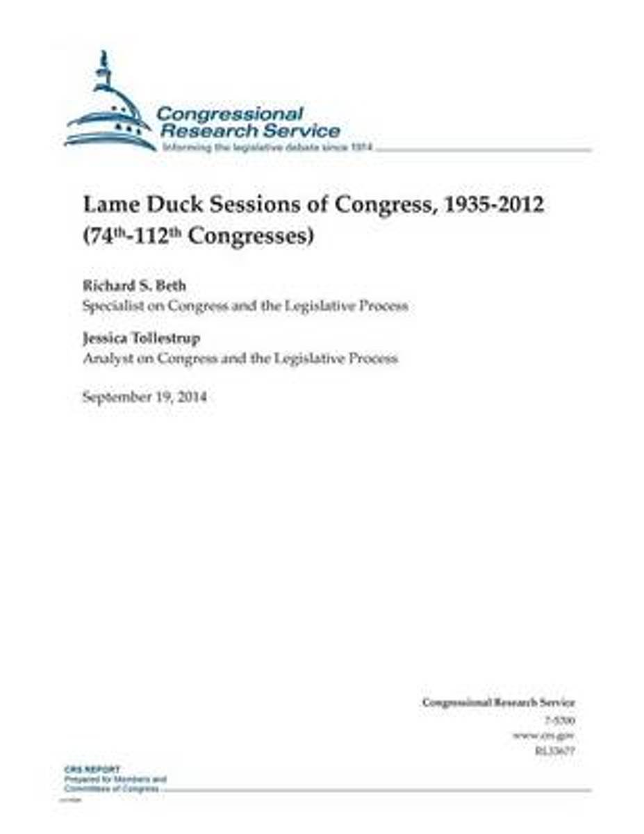 Lame Duck Sessions of Congress, 1935-2012 (74th-112th Congresses)