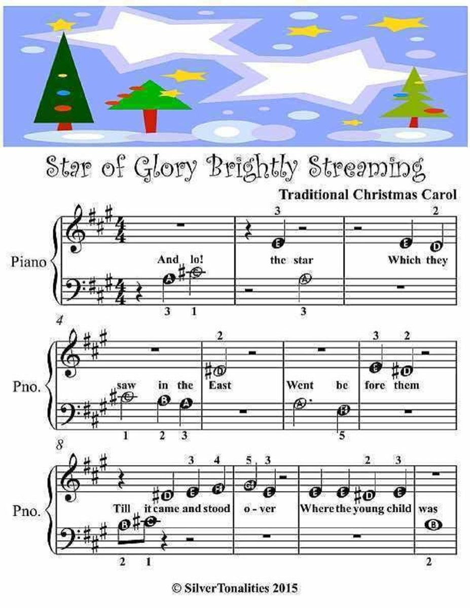 Star of Glory Brightly Streaming - Beginner Tots Piano Sheet Music