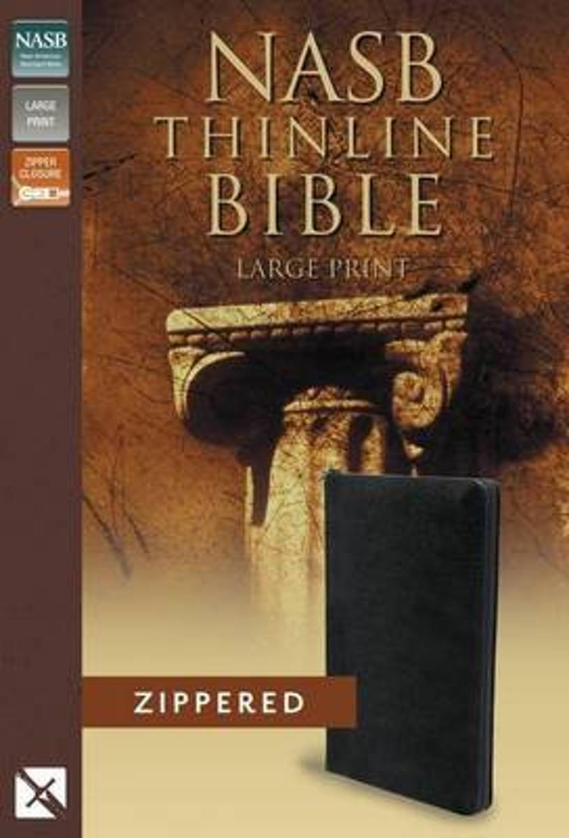 NASB, Thinline Zippered Collection Bible, Large Print, Bonded Leather, Black, Red Letter Edition