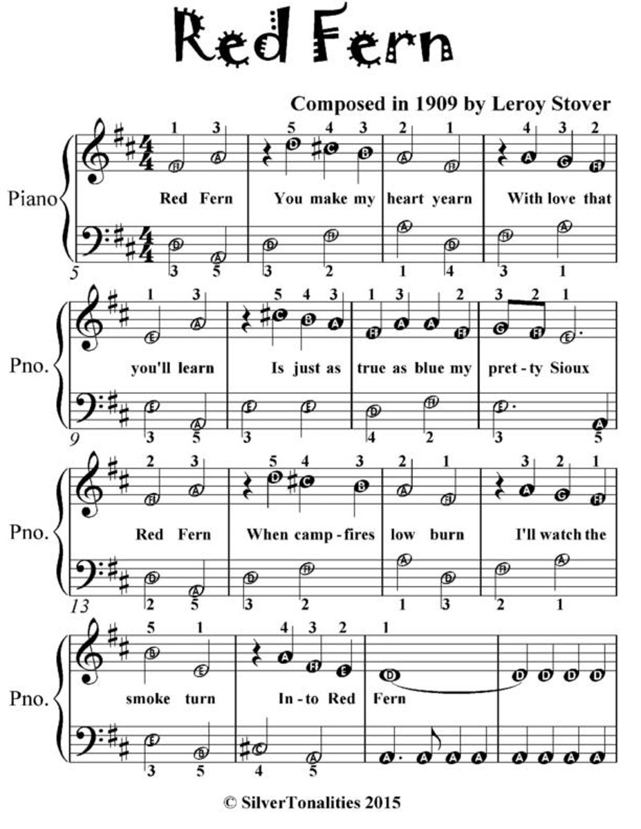 Red Fern - Easiest Piano Sheet Music for Beginner Pianists