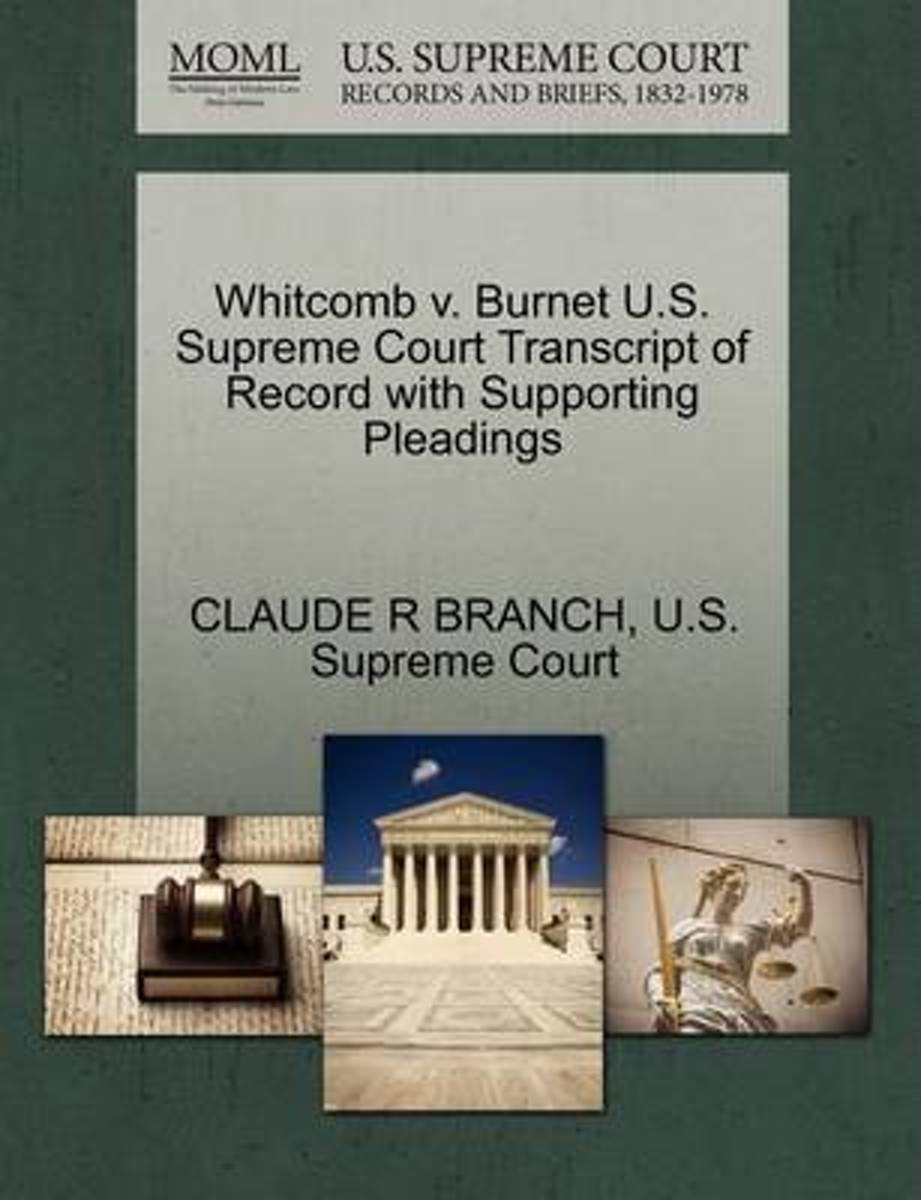 Whitcomb V. Burnet U.S. Supreme Court Transcript of Record with Supporting Pleadings