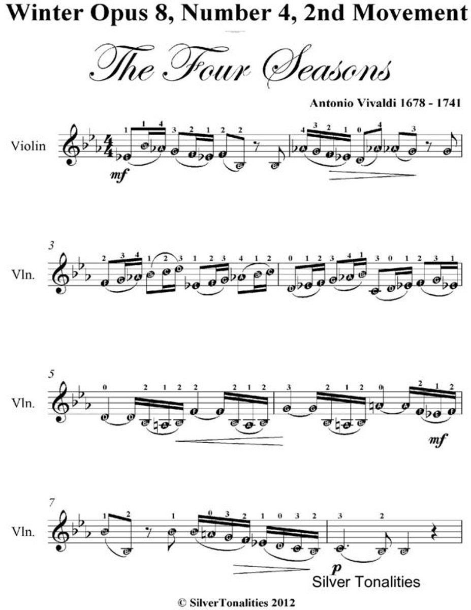 Winter Opus 8 Number 4 2nd Movement the Four Seasons - Easy Violin Sheet Music