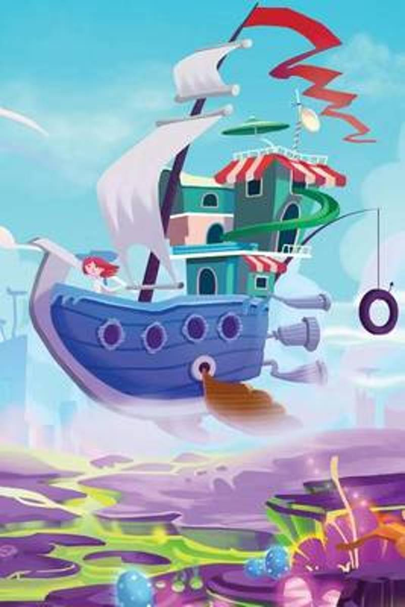 Sky Ship Over Toonland Blank Book