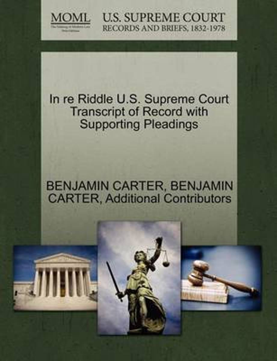 In Re Riddle U.S. Supreme Court Transcript of Record with Supporting Pleadings