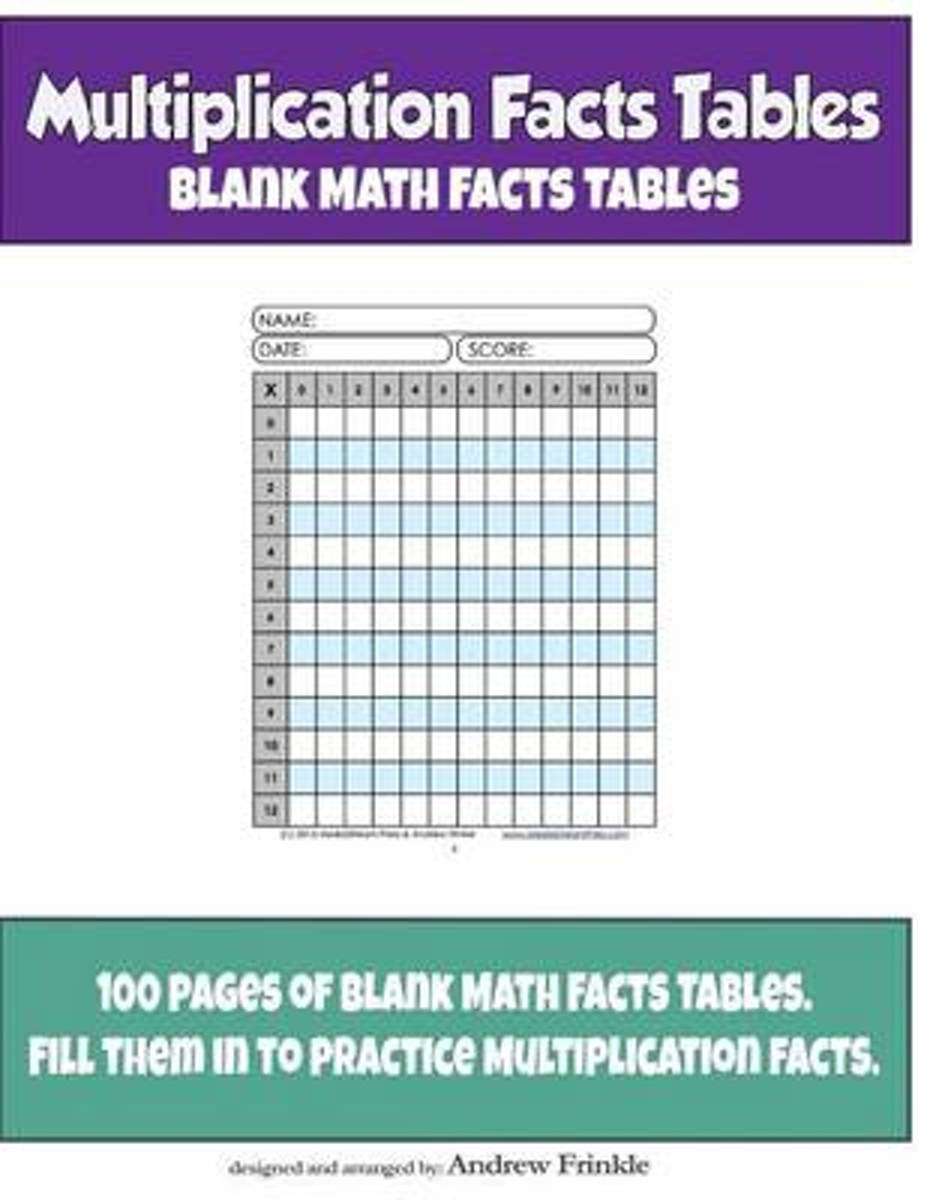Multiplication Facts Tables