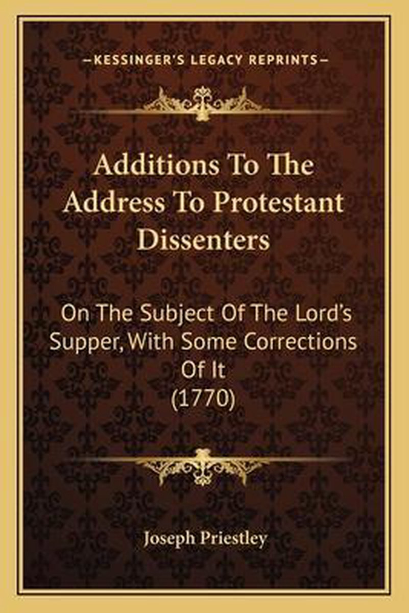 Additions to the Address to Protestant Dissenters