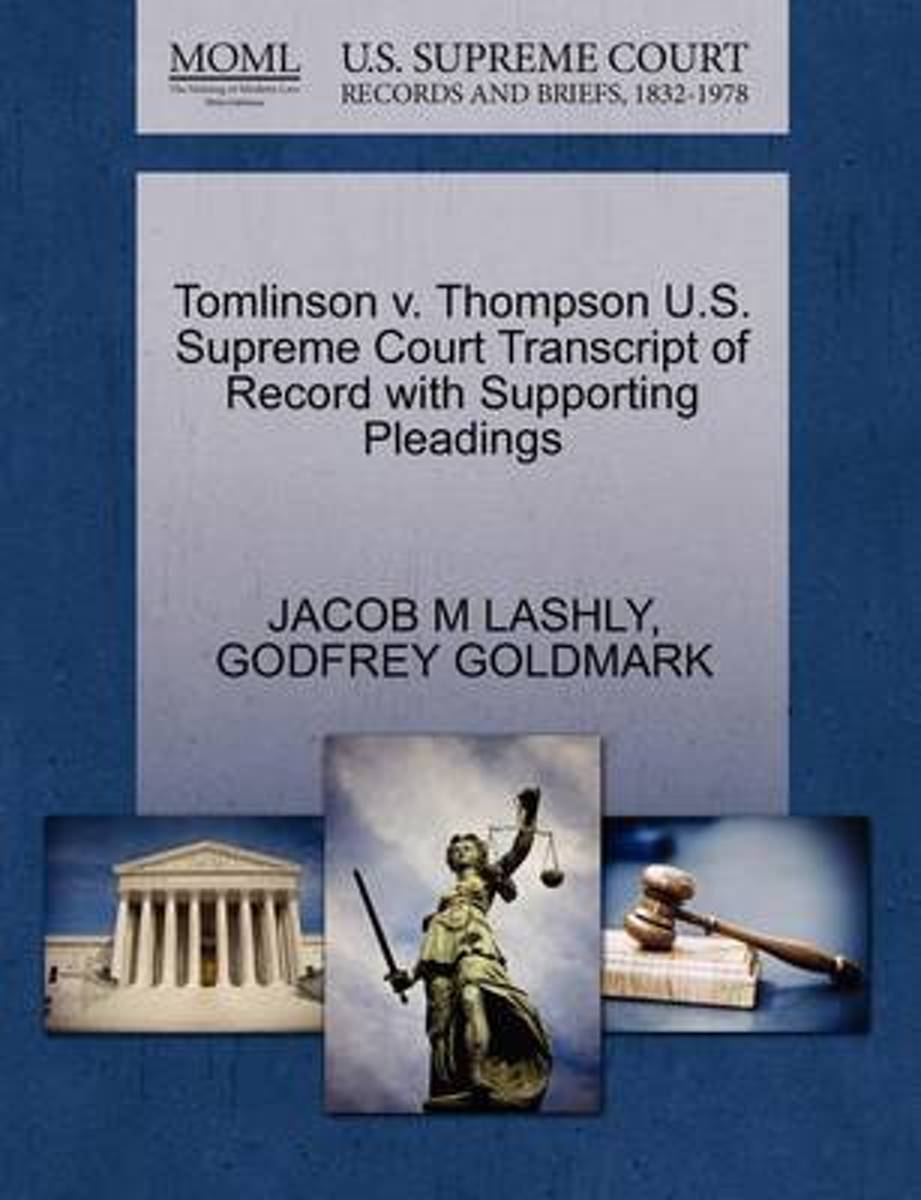 Tomlinson V. Thompson U.S. Supreme Court Transcript of Record with Supporting Pleadings