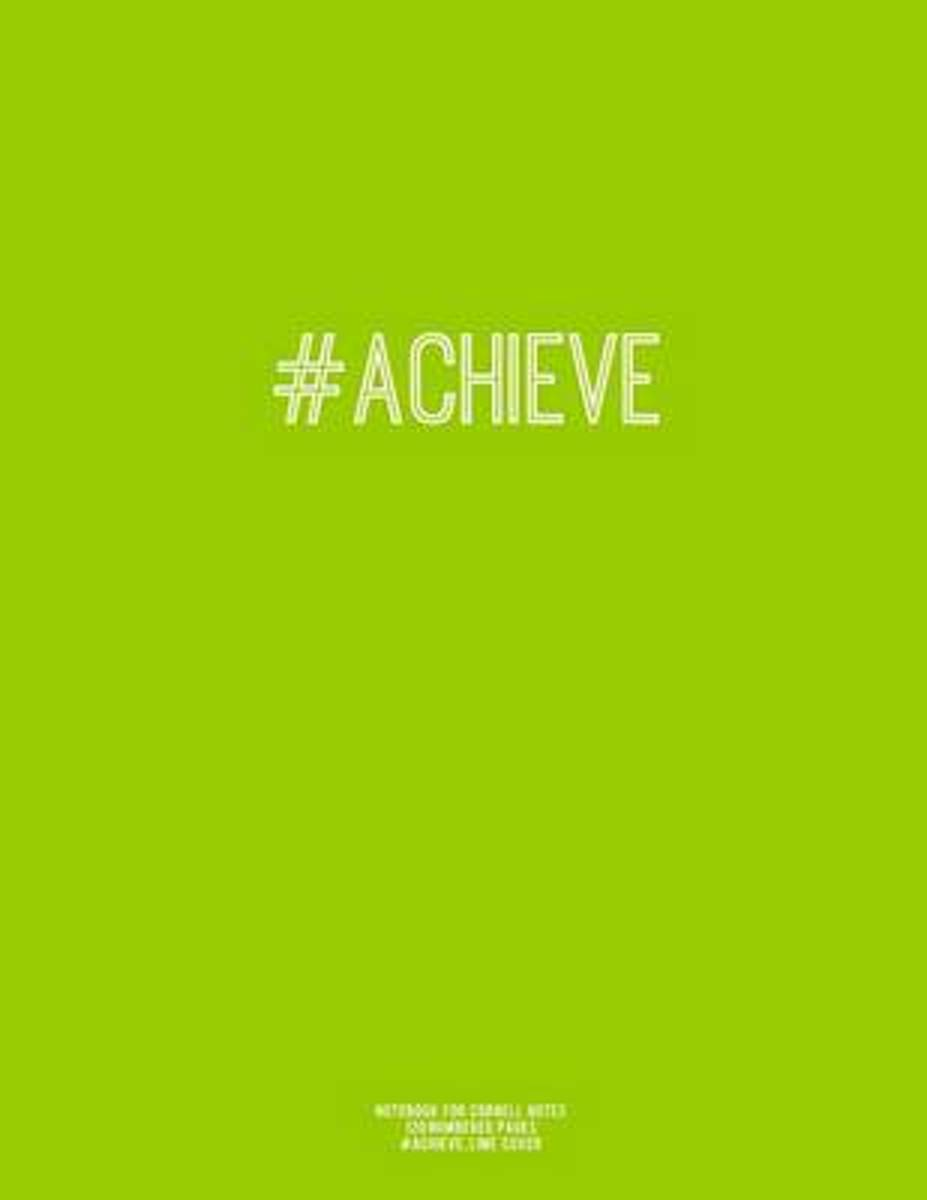 Notebook for Cornell Notes, 120 Numbered Pages, #Achieve, Lime Cover