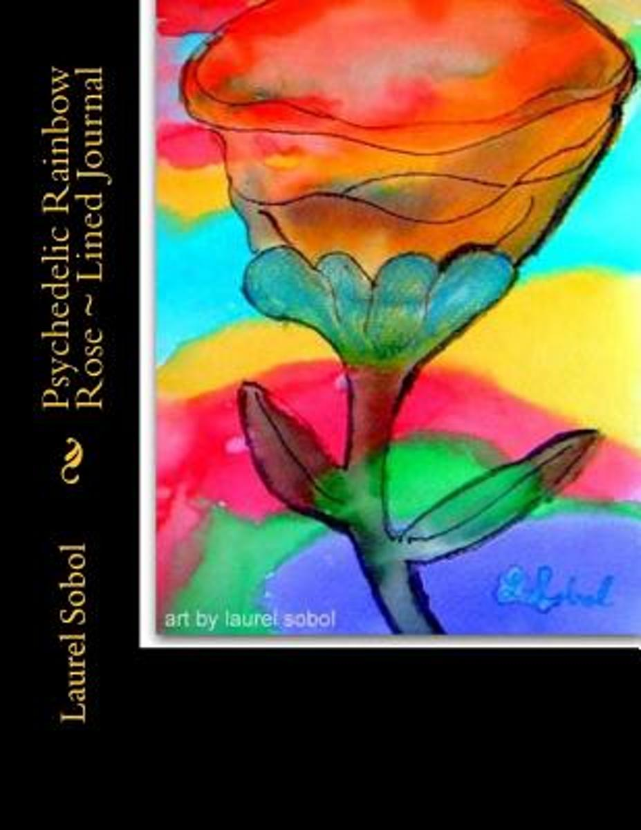 Psychedelic Rainbow Rose Lined Journal