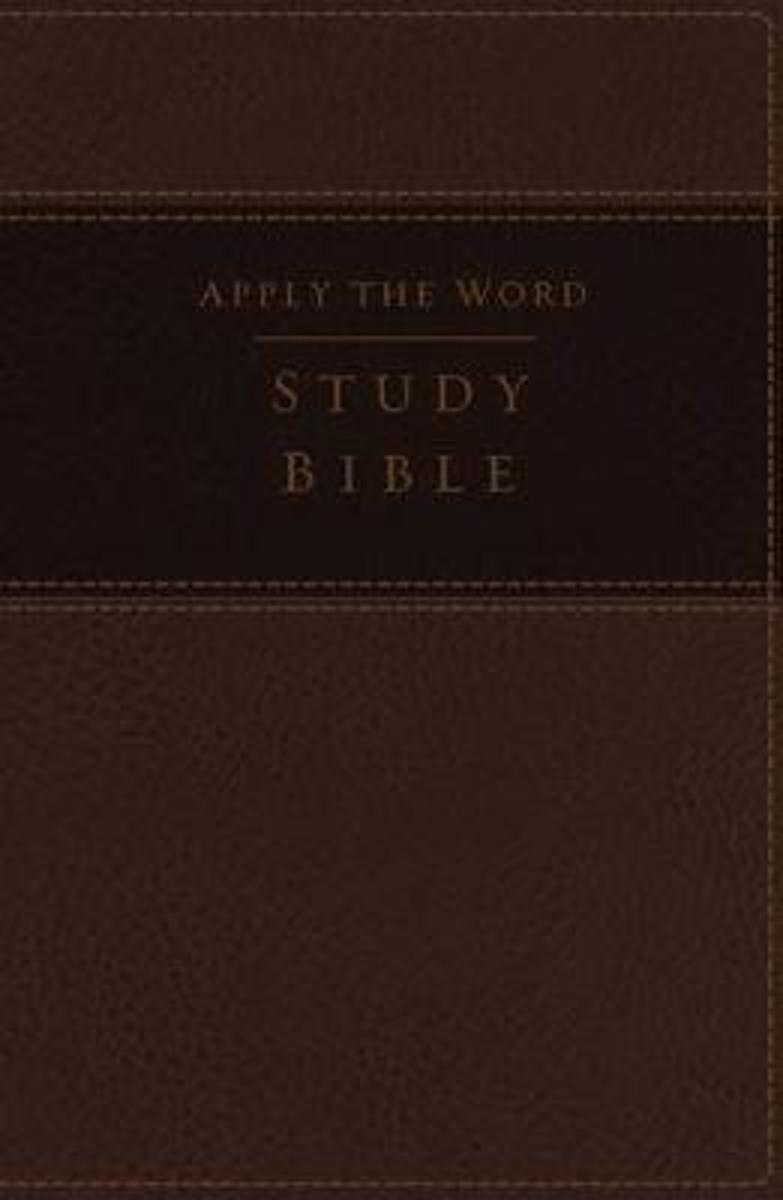 NKJV, Apply the Word Study Bible, Large Print, Leathersoft, Brown, Indexed, Red Letter Edition
