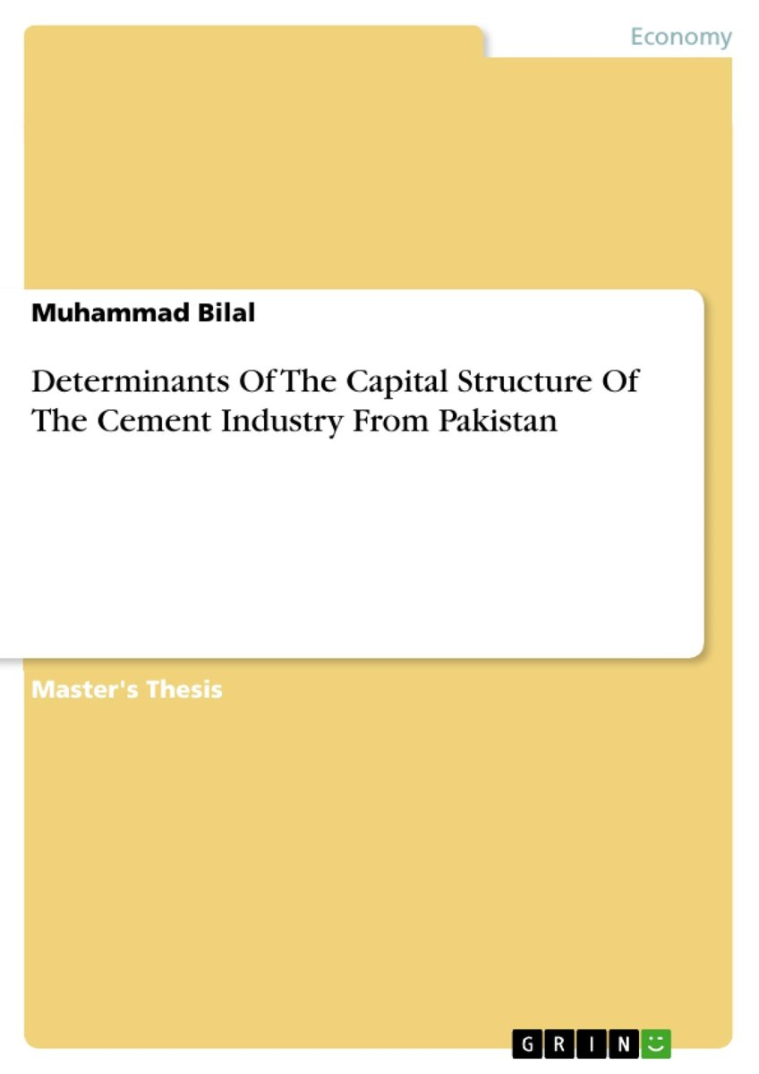 Determinants Of The Capital Structure Of The Cement Industry From Pakistan
