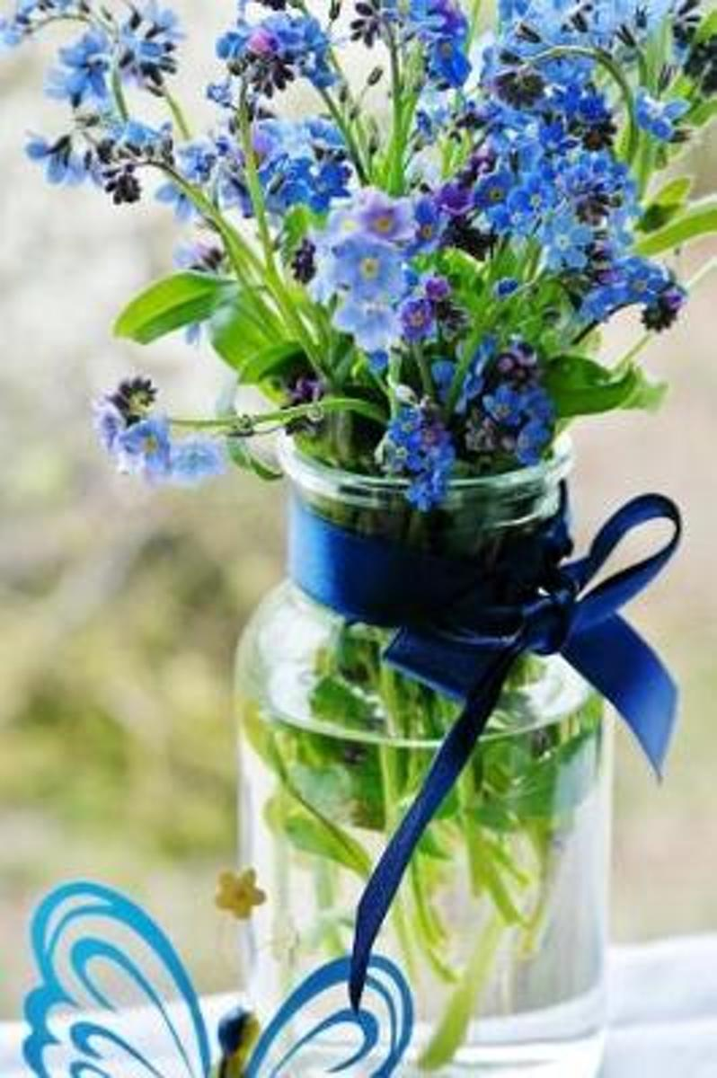 Forget-Me-Not Flowers in a Vase with a Sapphire Ribbon Journal