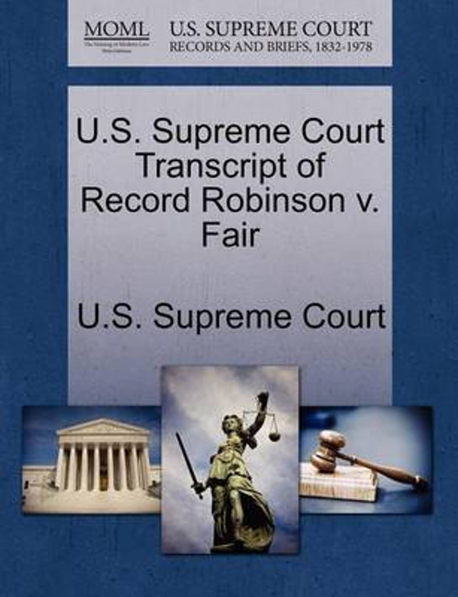 U.S. Supreme Court Transcript of Record Robinson V. Fair