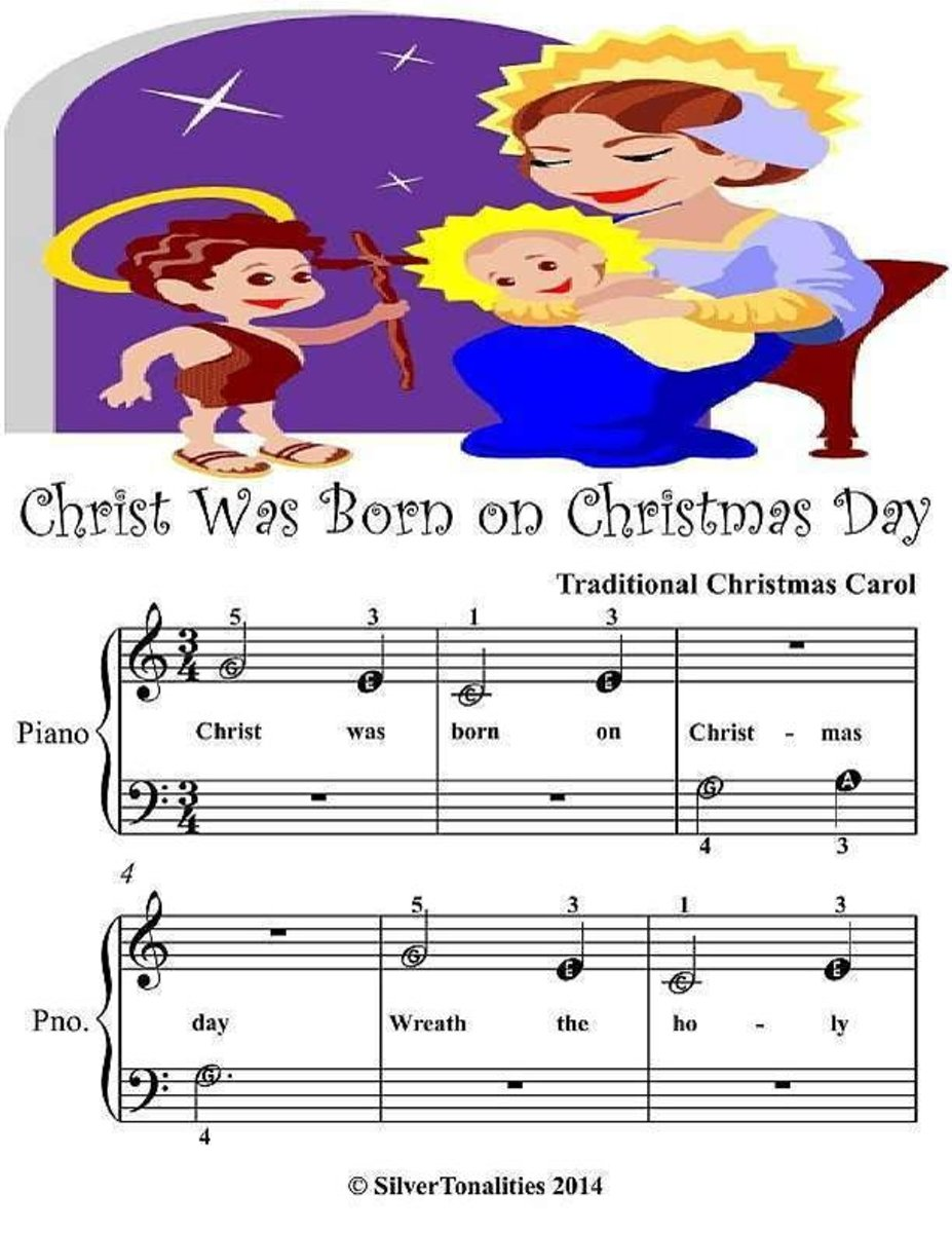 Christ Was Born On Christmas Day - Beginner Tots Piano Sheet Music