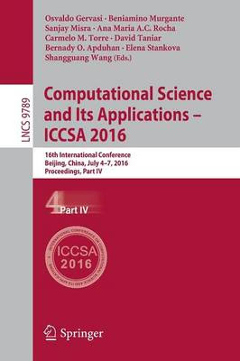 Computational Science and Its Applications - ICCSA 2016