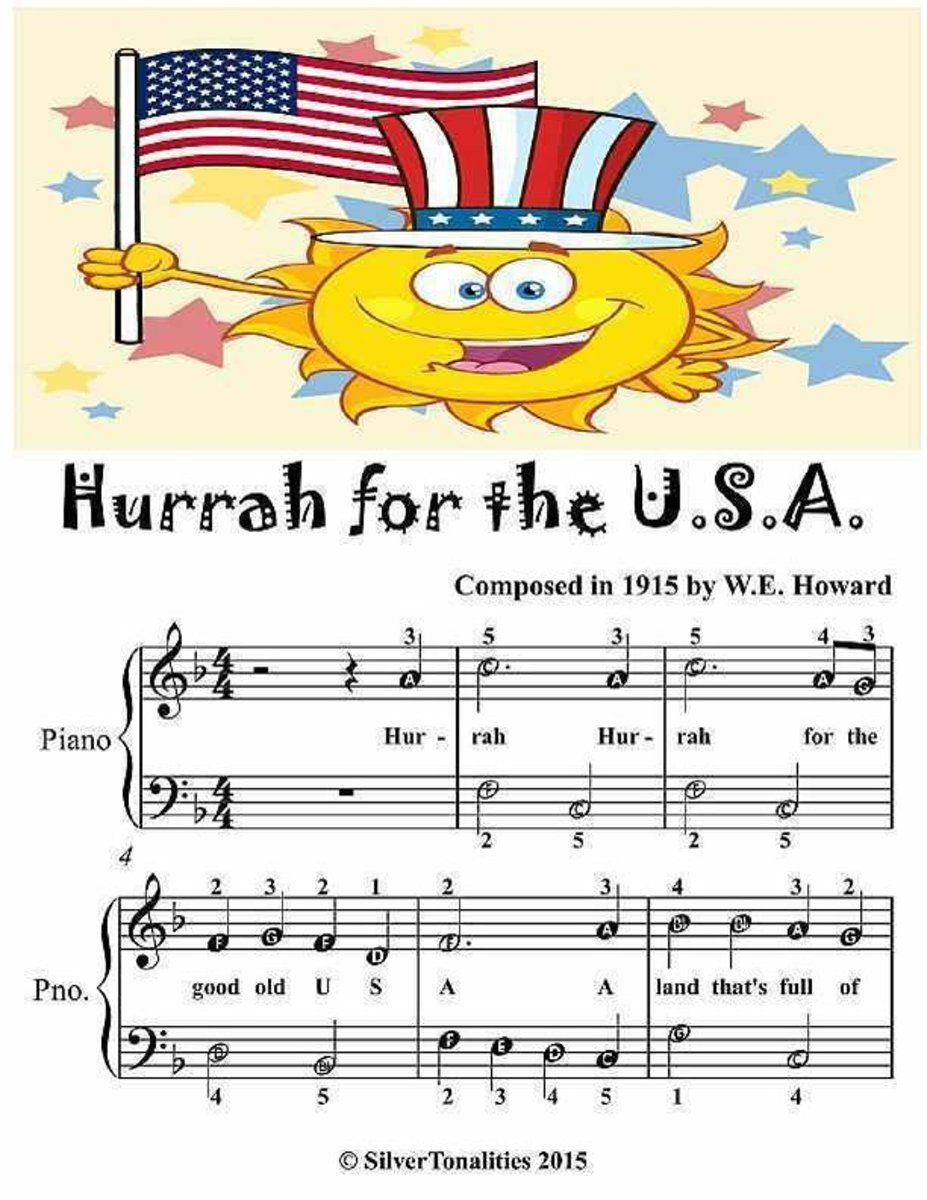 Hurrah for the Usa - Easiest Piano Sheet Music Junior Edition