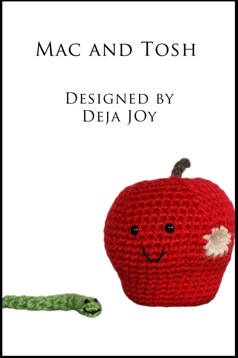 Mac and Tosh Apple Amigurumi with Removable Worm Friend