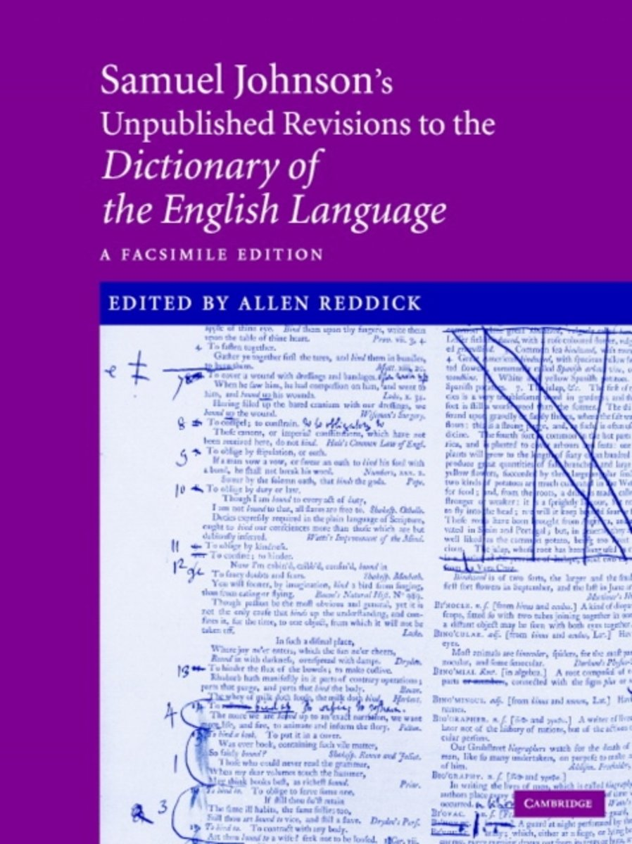 Samuel Johnson's Unpublished Revisions To The Dictionary Of The English Language