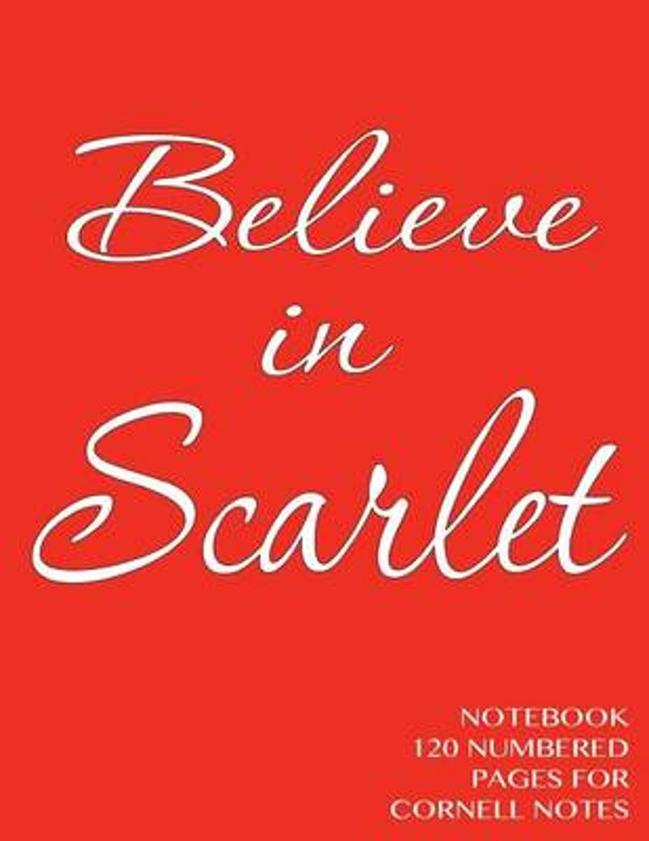 Believe in Scarlet Notebook 120 Numbered Pages for Cornell Notes