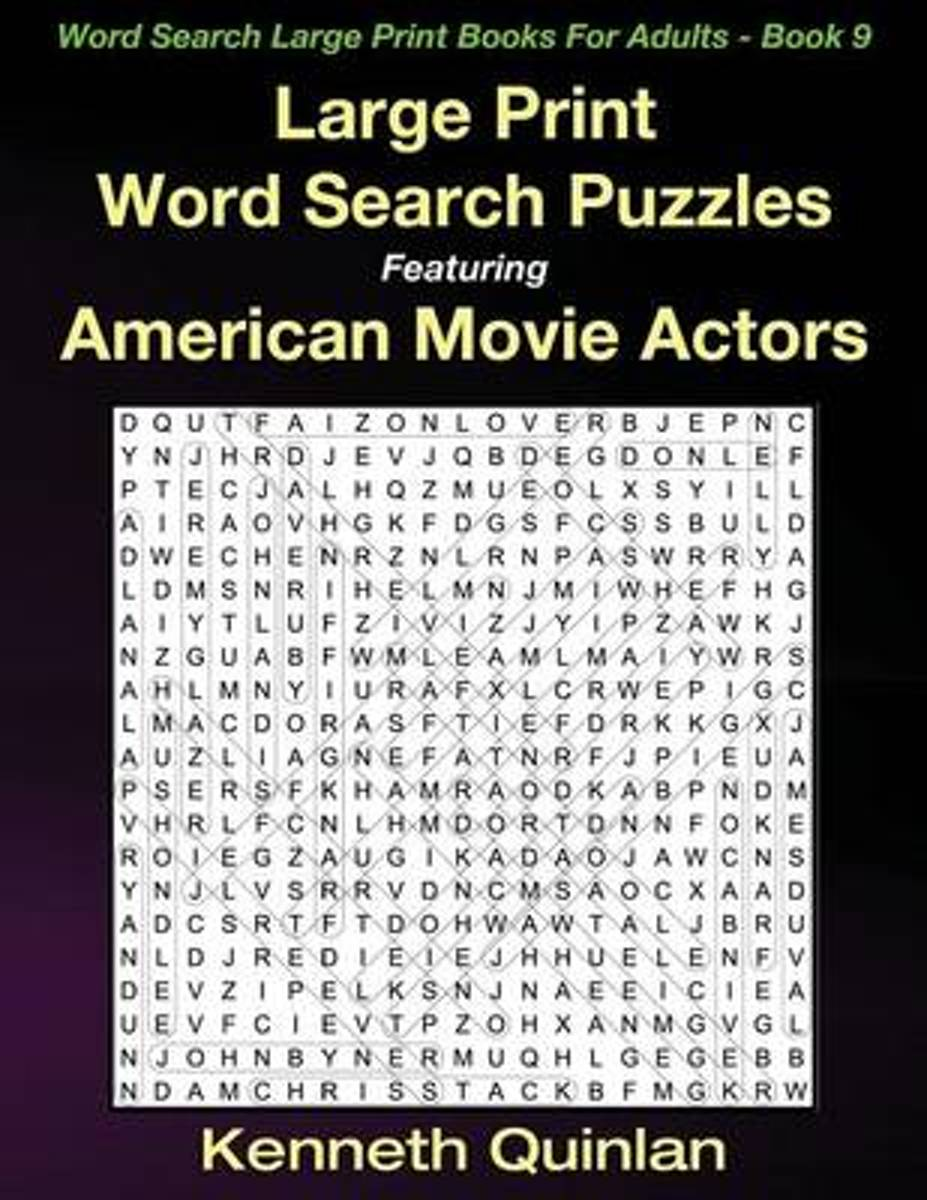 Large Print Word Search Puzzles Featuring American Movie Actors