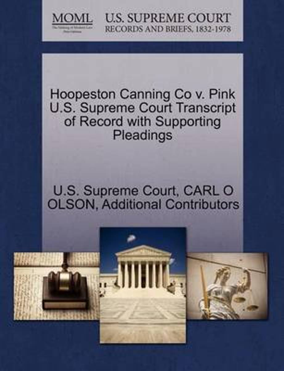 Hoopeston Canning Co V. Pink U.S. Supreme Court Transcript of Record with Supporting Pleadings