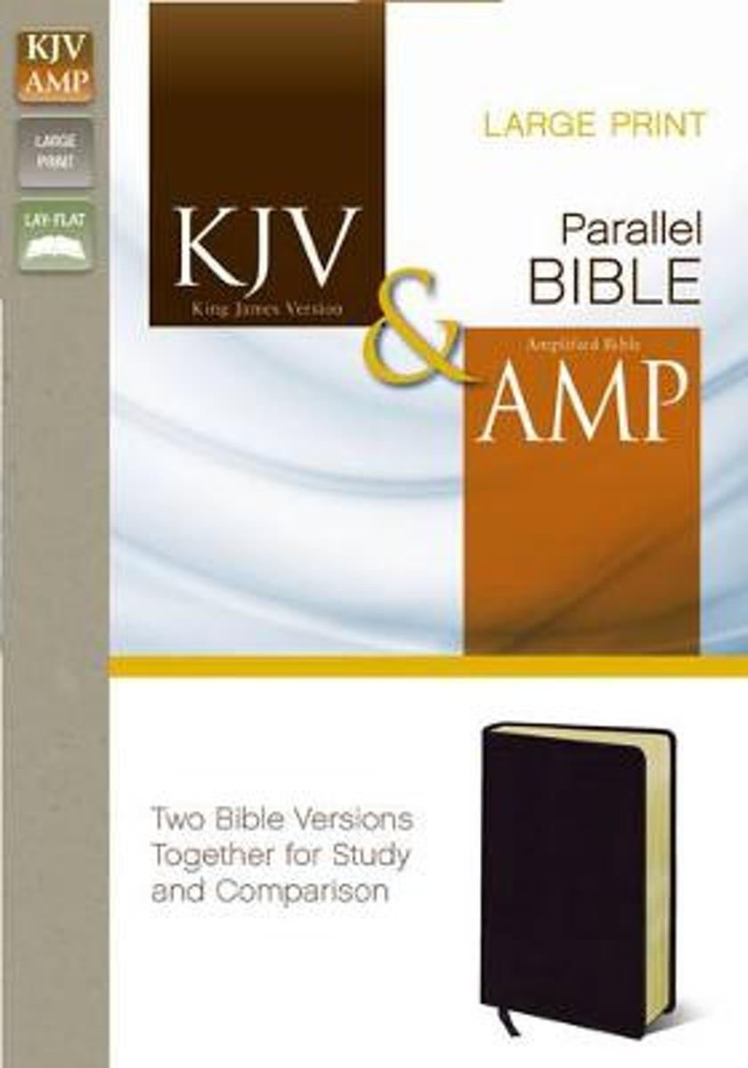 KJV, Amplified, Parallel Bible, Large Print, Bonded Leather, Black, Red Letter Edition