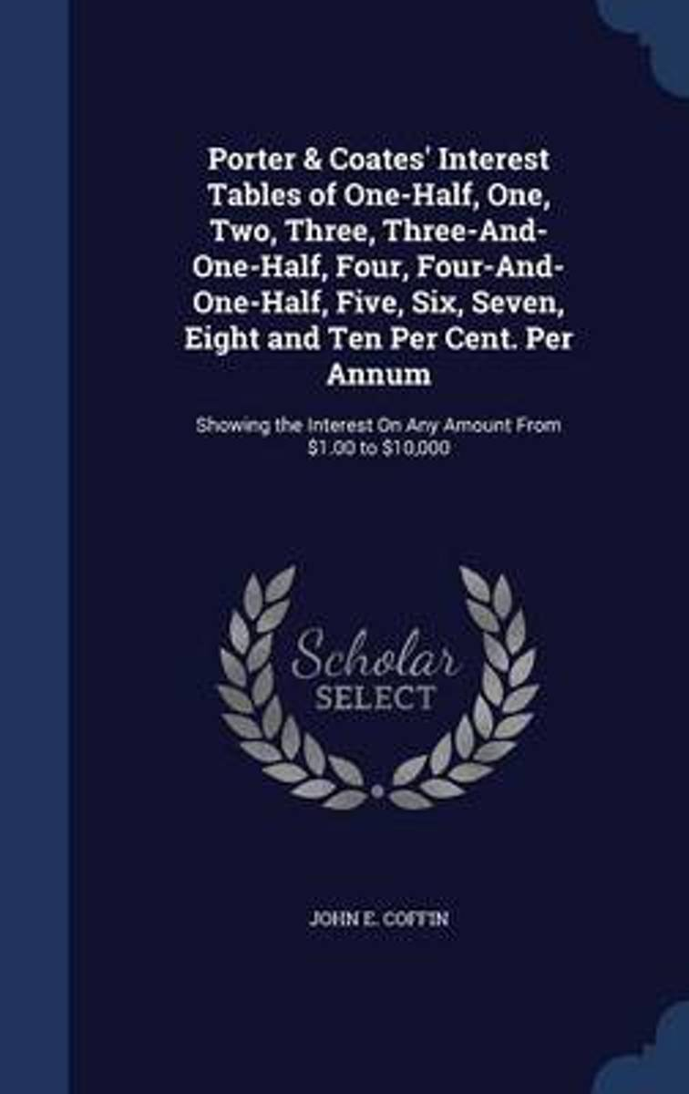 Porter & Coates' Interest Tables of One-Half, One, Two, Three, Three-And-One-Half, Four, Four-And-One-Half, Five, Six, Seven, Eight and Ten Per Cent. Per Annum