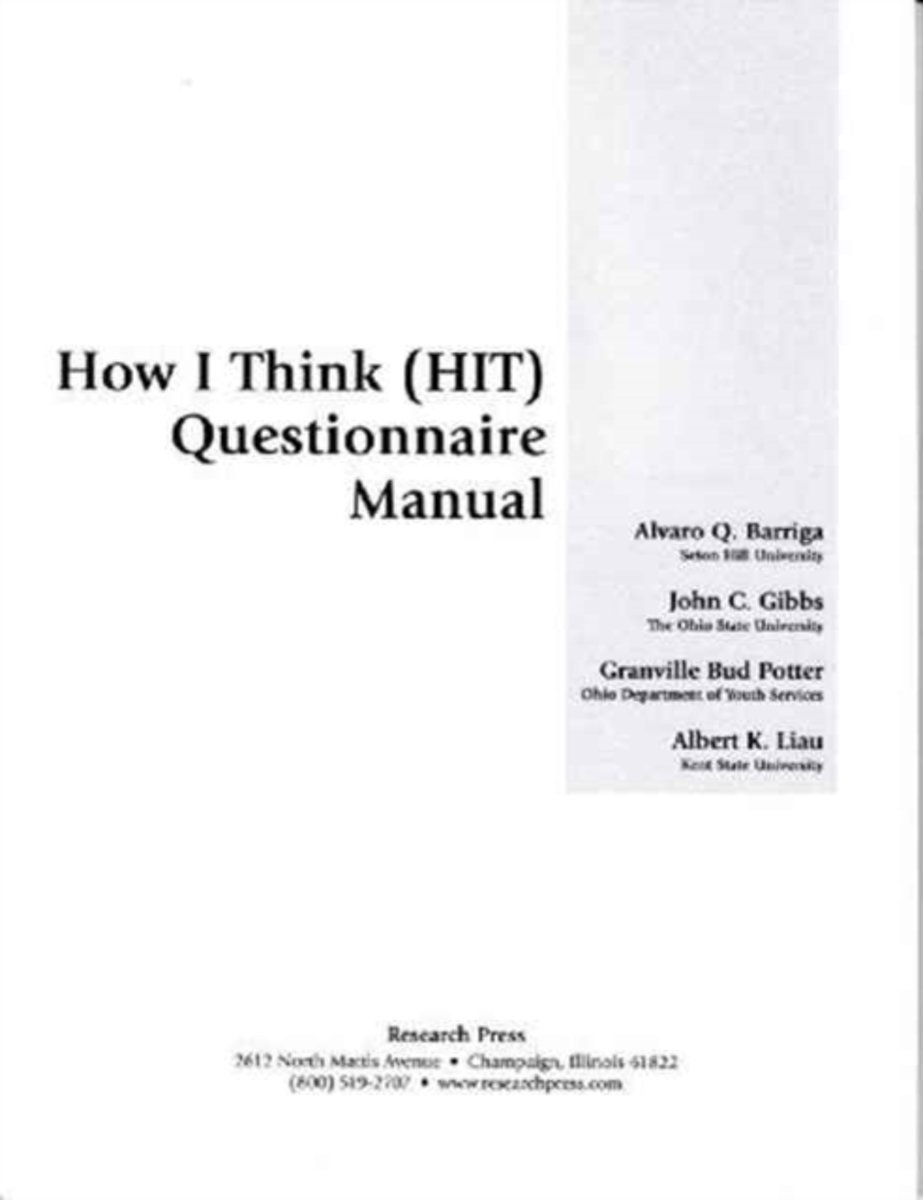 HIT-How I Think Questionnaire, Questionnaire Manual