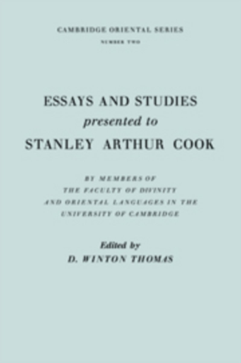 Essays and Studies Presented to Stanley Arthur Cook