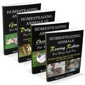 Homesteading Animals 4-Book Bundle: Rearing Rabbits, Chickens, Ducks & Geese