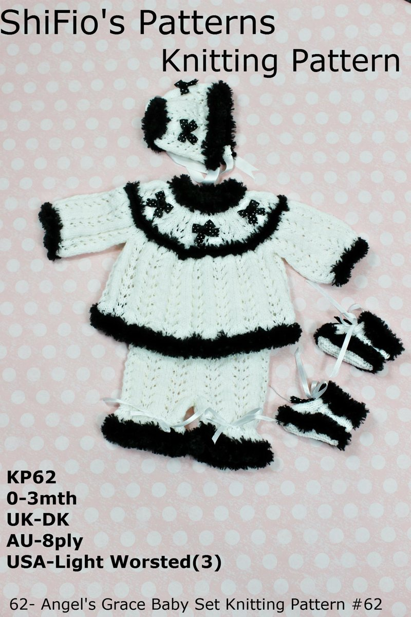 62- Angel's Grace Baby Set Knitting Pattern #62