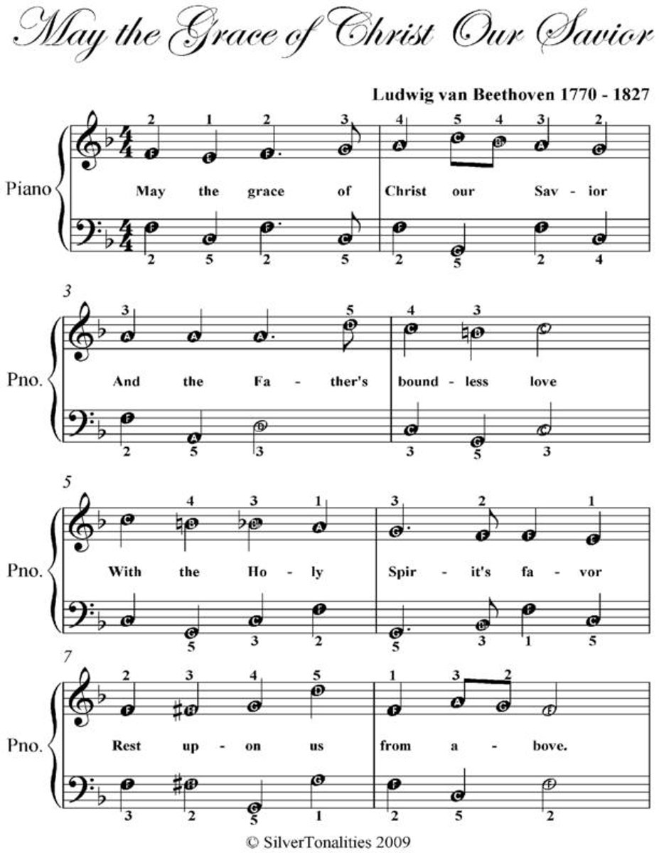 May the Grace of Christ Our Savior - Easy Piano Sheet Music
