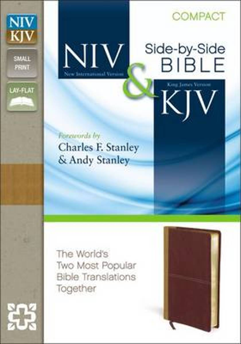 NIV, KJV, Side-by-Side, Compact, Leathersoft, Tan/Red