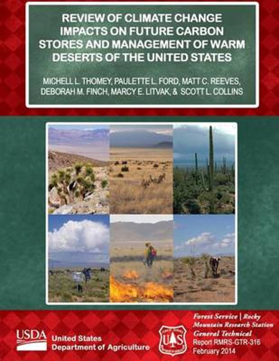 Review of Climate Change Impacts on Future Carbon Stores and Management of Warm Deserts of the United States