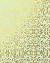 Gold Foil and Mint Green Floral Pattern Notebook