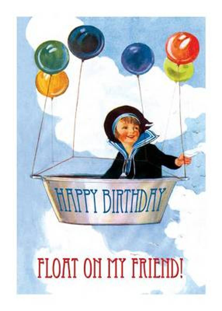Boy Lifted by Balloons - Birthday Greeting Card