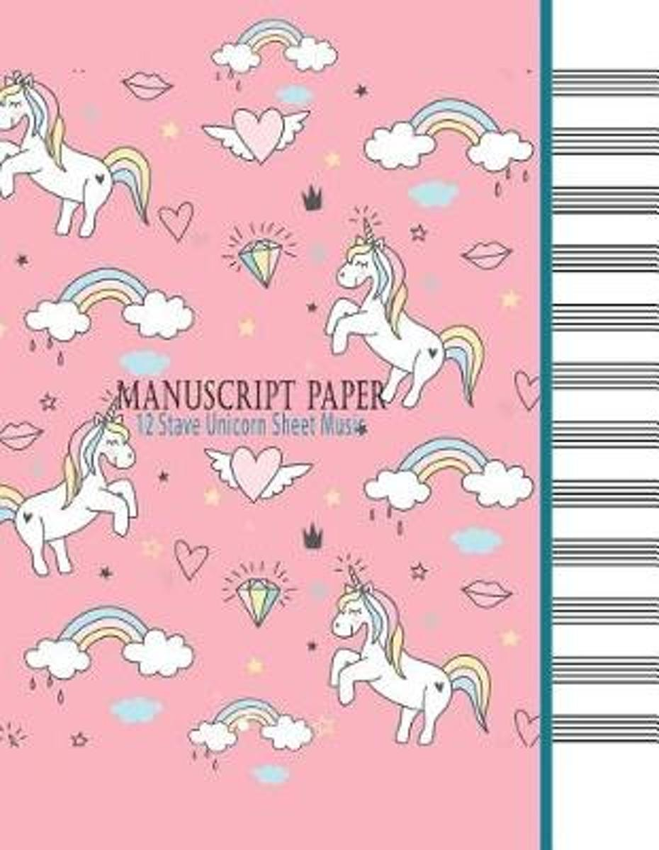 Manuscript Paper - 12 Stave Unicorn Sheet Music