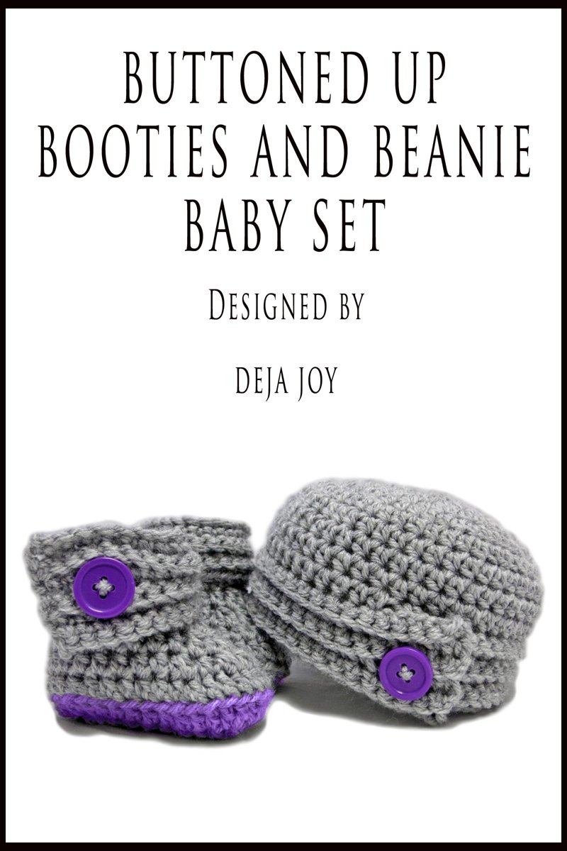 Buttoned Up Baby Booties and Beanie Baby Set