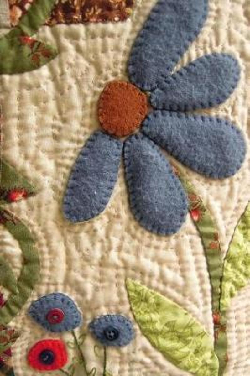 Pretty Applique Flowers on a Cream Quilted Background Ornamental Needlework Journal