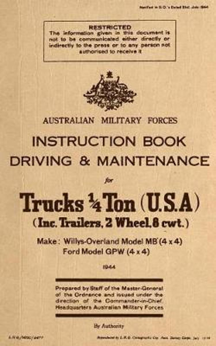 Instruction Book Driving & Maintenance for Trucks 1/4 Ton (USA)