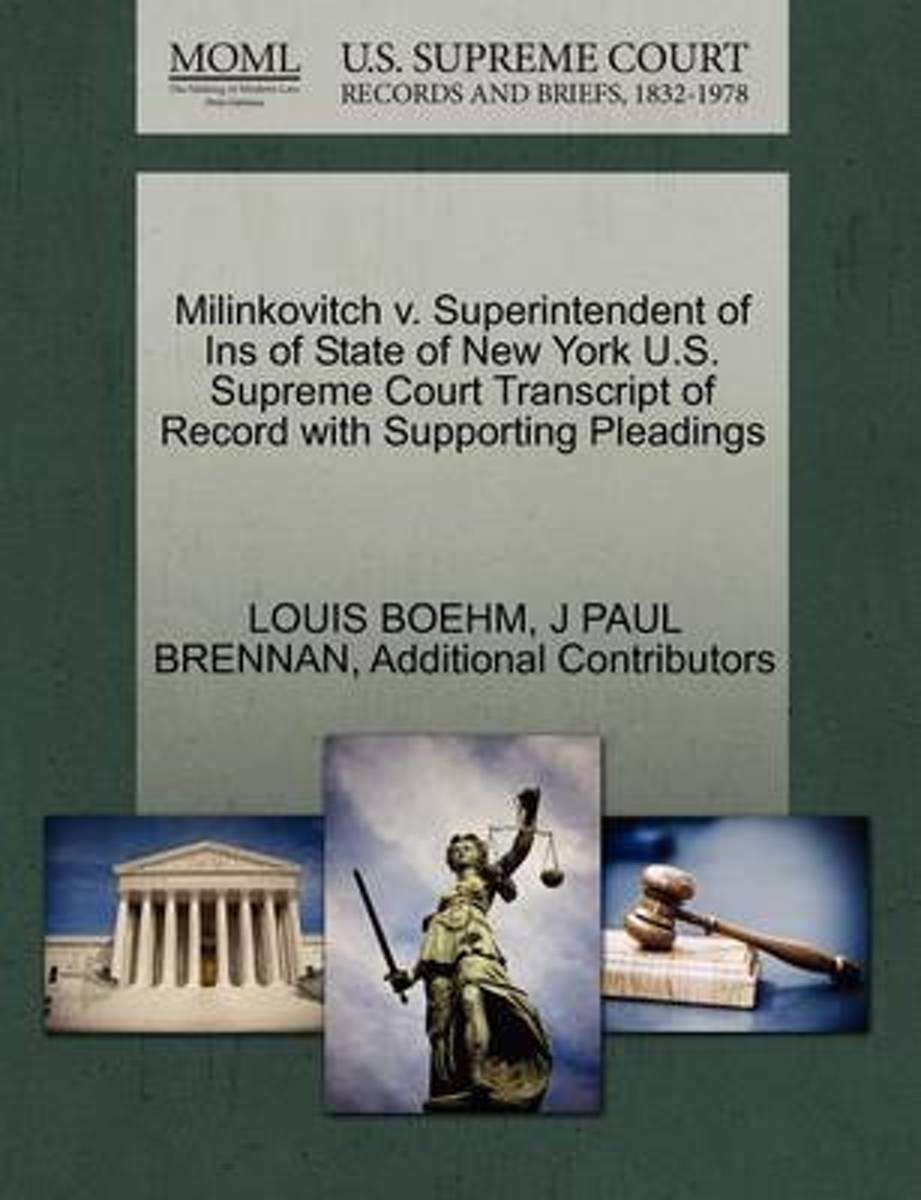 Milinkovitch V. Superintendent of Ins of State of New York U.S. Supreme Court Transcript of Record with Supporting Pleadings