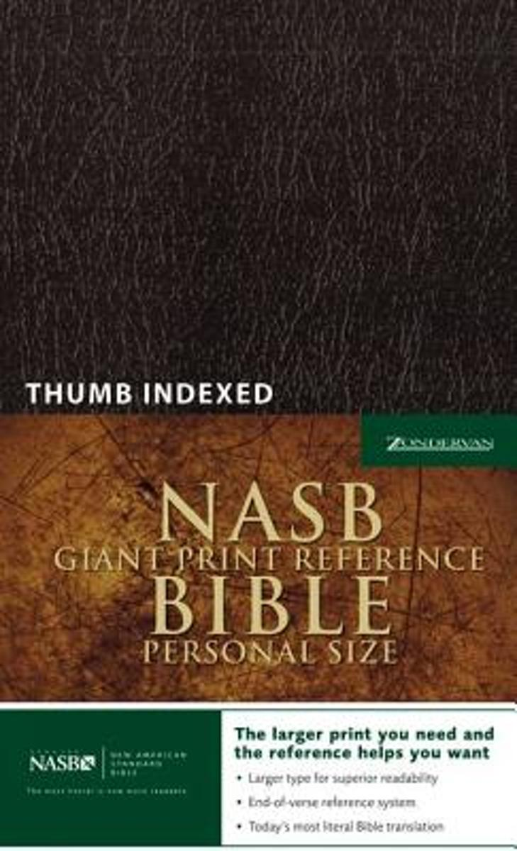 NASB, Reference Bible, Giant Print, Personal Size, Leather-Look, Burgundy, Red Letter Edition