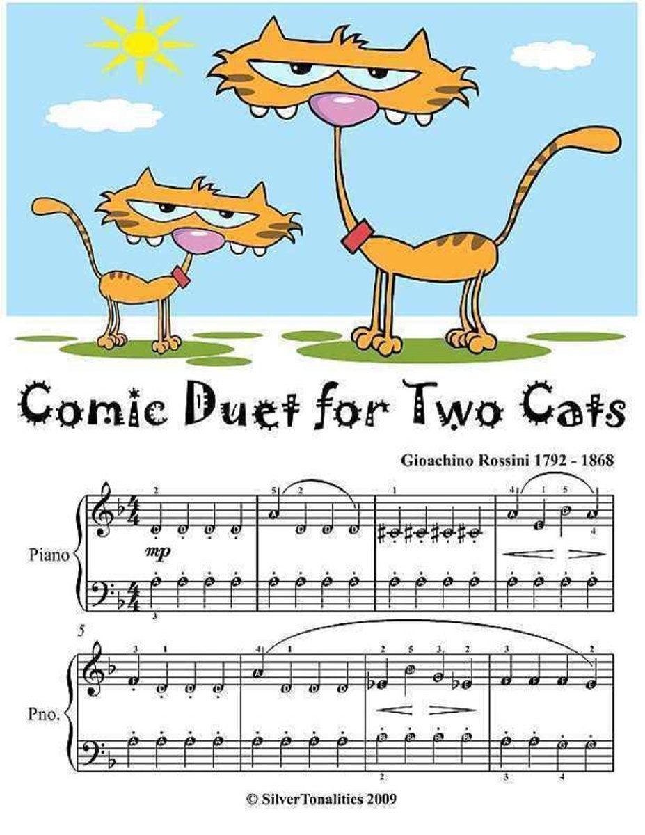 Comic Duet for Two Cats - Easy Piano Sheet Music Junior Edition